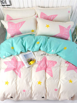 Picture of 4Pcs Bedsheet Suit Fresh Style Five Stars Pattern Home Comfy Bedding Set - Size:1#2m Bed