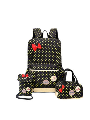 Picture of Girl's Backpack Set 3 Pcs Polka Dot Cute Lightweight School Bags - Size:One Size