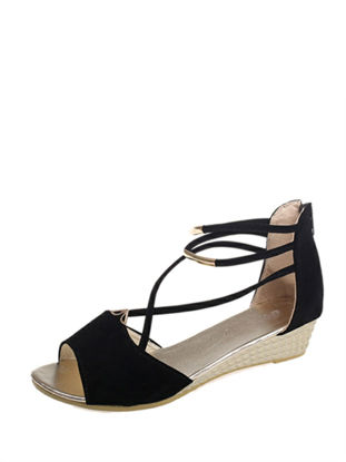 Picture of Women's Gladiator Sandals Simple Chic Solid Color Peep Toe Back Zipper Wedge Sandals - Size:38