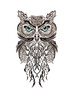 Picture of Women's Tattoo Sticker Personalized Owl Pattern Waterproof Lasting Tattoo Sticker - Size:One Size