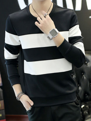 Picture of Men's T Shirt O Neck Long Sleeve Striped Color Block Plus Size Top - Size:XXL