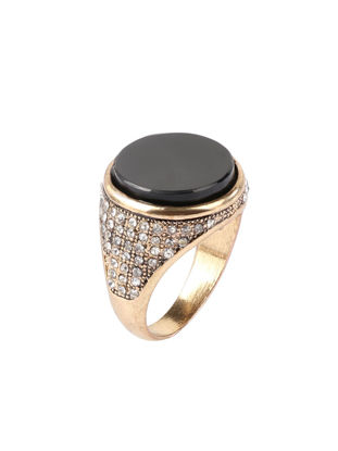 Picture of Men's Ring All Match Round Black Gemtone Decor Chic Ring Accessory - Size:19