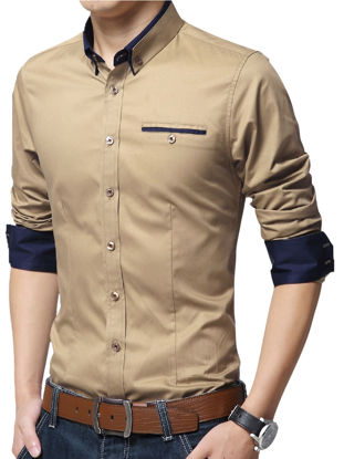 Picture of Men's Plus Size Shirt Turn Down Collar Long Sleeve Slim Fashion Top - Size:XL