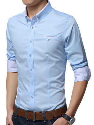 Picture of Men's Plus Size Shirt Turn Down Collar Long Sleeve Slim Fashion Top - Size:L