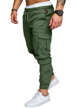 Picture of Men's Casual Pants Top Fashion Sports Style Elastic Waist Solid Color Pants - Size:XL