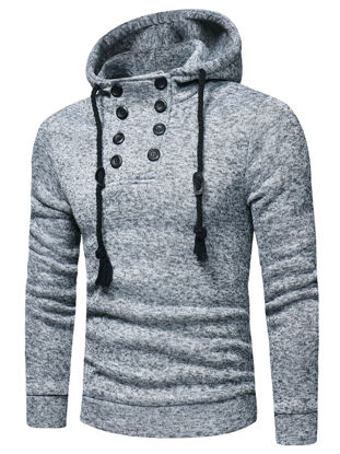 Picture of Men's Hoodie Simple Buttons Long Sleeve Mens Clothing - Size:M