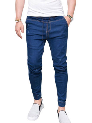 Picture of Men's Slim Jeans Breathable Fashion Elastic Skin-Friendly All Match Denim Jeans - Size:3XL