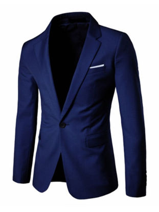 Picture of Men's Blazer Notched Collar Long Sleeve Solid Color Slim Blazer - Size:XL