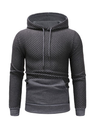Picture of Men's Hoodie Fashion Patchwork Drawstring Long Sleeve Hoodie - Size:M