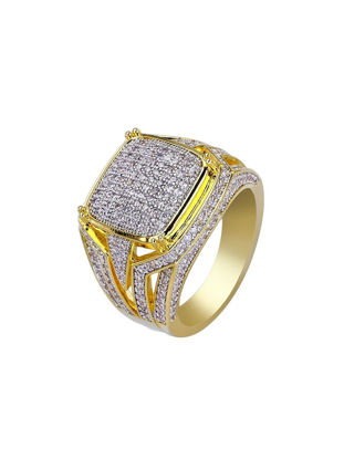 Picture of Men's Ring Rhinestone Inlay Hollow Out Design Ring Accessory - Size:10