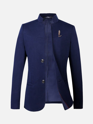 Picture of Men's Blazer Stand Collar Long Sleeve Solid Color Slim Blazer - Size:L