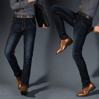 Picture of Men's Jeans Solid Color Mid Waist Straight Jeans - Size:33