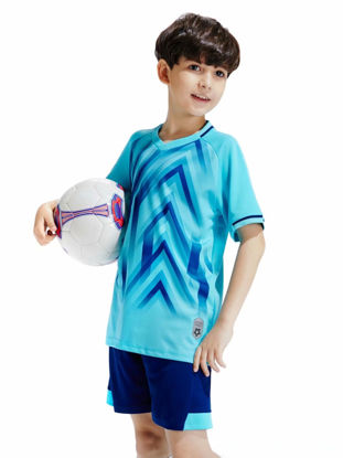 Picture of Kid's 2Pcs Training Set Printed Breathable Quick-drying Top Football Shorts Set - Size:S