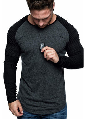Picture of Men's T Shirt Fashion Patchwork O Neck Top - Size:XXL
