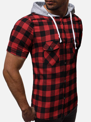 Picture of Men's Shirt Short Sleeve Plaid Hoody Slim Casual Top - Size:M