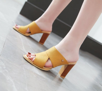 Picture of Women's Open Toe Slippers Casual Anti-Skidding Thick Heel Breathable Increased Shoes - Size:38
