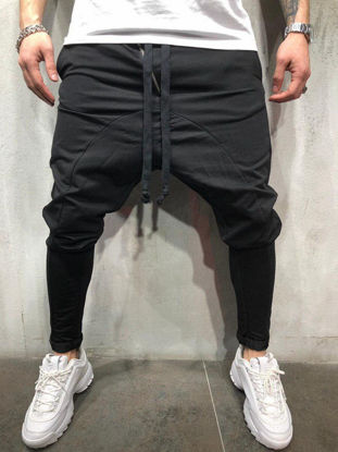 Picture of Men's Casual Pants Solid Color Drawstring Waist Ankle Tied Pants - Size:M