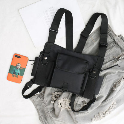 Picture of Men's Backpack Solid Color Large Capacity Zipper Closure Bag - Size:One Size