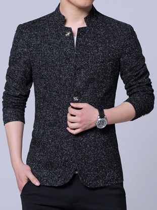 Picture of Men's Blazer Solid Color Long Sleeve Single Breasted Stand Collar Coat - Size:M