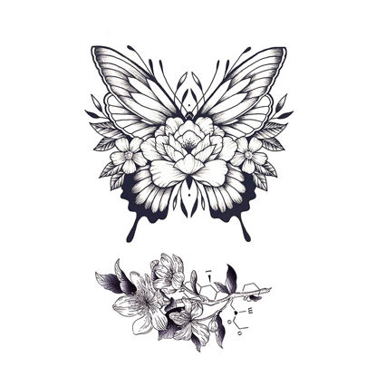 Picture of Women's Tattoo Sticker Floral Butterfly Temporary Tattoo Sticker - Size:One Size