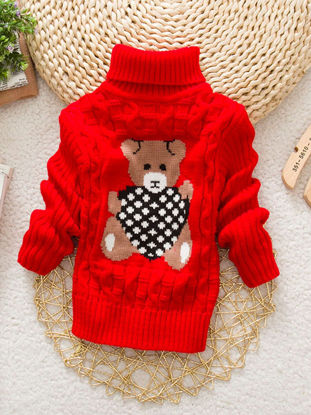Picture of Toddler Girls Boy's Sweater Unisex Turtle Neck Cute Heart Bear Pattern Sweater - Size:Reference Height:120cm