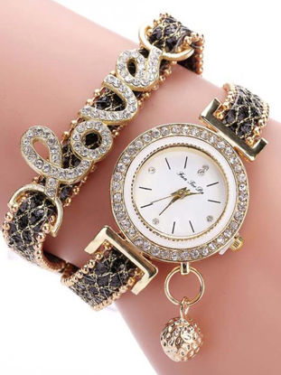 Picture of Women's Bracelet Watch Chic Rhinestone Inlay Double Layers Alloy Watch Accessory - Size:One Size