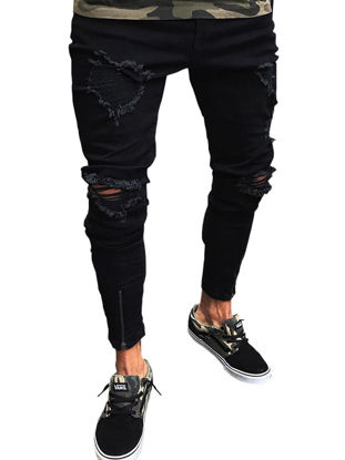 Picture of Men's Jeans Solid Color Frayed Slim All Match Fashion Jeans - Size:XL
