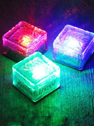 Picture of 1Pc Solar Power LED Light Outdoor Waterproof Ground Crystal Glass Ice Brick Lawn Yard Garden Lamp
