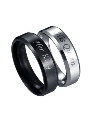 Picture of 2 Pcs Men's Ring Set Stainless Steel Letter Print Fashion Ring Set - Size:6