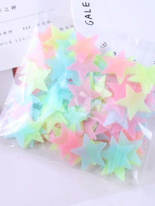Picture of 100Pcs Bedroom Wall Stickers Star Shape Adorable Luminous Wall Decoration - Size:One Size