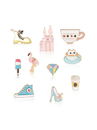 Picture of Women's Brooch Set 10 Pcs Lovely Cute Preppy Fashion Brooch Accessory - Size:One Size