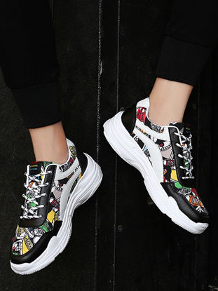 Picture of Men's Sneakers Fashion Floral Pattern Casual Breathable Damping Shoes - Size:44