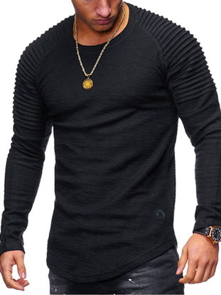 Picture of Men's T-Shirt Fashion Stylish Solid Color Long Sleeve Top - Size:M