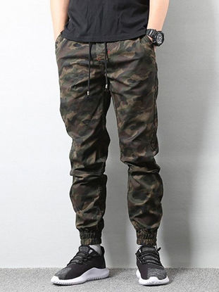 Picture of AKARMY Men's Casual Pants Camouflage Drawstring Pocket Pants - Size:M