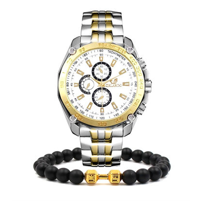 Picture of Men's Fashion Watch Stainless Steel Business Watch With A Beaded Bracelet Set - Size:One Size