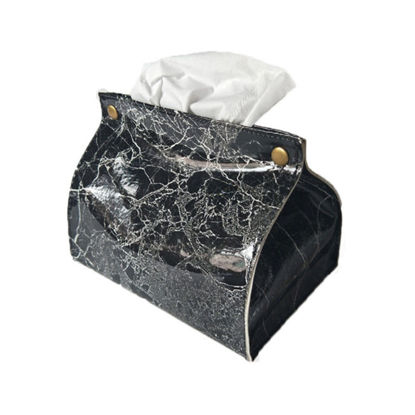 Picture of 1Pc Marble Pattern Removable Tissue Box Pu Leather Home Car Napkin Paper Container - Size:One Size