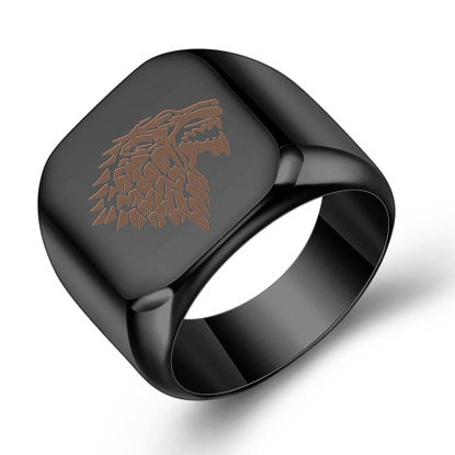 Picture of Men's Ring Lion Pattern Simple Ring Accessory - Size:8