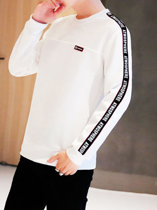 Picture of Men's T Shirt O Neck Patchwork Long Sleeve Top - Size:XL