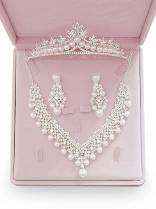 Picture of Bridal 3 Pcs Jewelry Set Crown Necklace Earrings Elegant Accessories