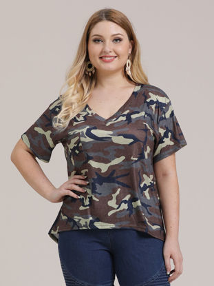 Picture of Women's Plus Size T Shirt Camouflage Pattern V Neck Short Sleeve Top - Size:4XL
