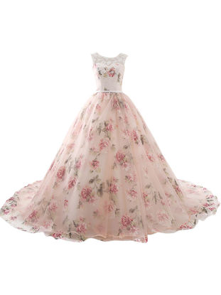 Picture of Women's Evening Dress Floral Pattern Sweet Floor Length Evening Dress - Size: 16
