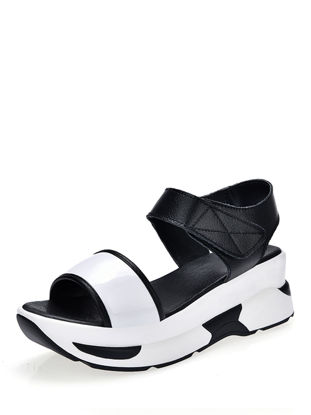 Picture of Women's Sandals Color Block Open Toe Casual Thick Sole Velcro Shoes - Size: 37