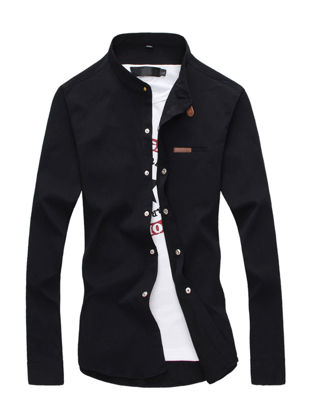 Picture of Men's Shirt Solid Color Slim Stand Collar Long Sleeve Shirt - Size: XL