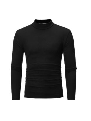 Picture of Men's T Shirt Long Sleeve Solid Color Chic Comfy T Shirt - Size: XXL