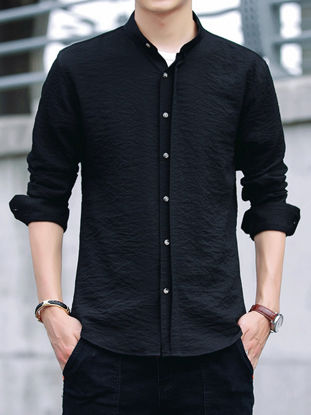Picture of Men's Shirt Casual Solid Color All Match Long Sleeve Comfy Shirt - Size: M