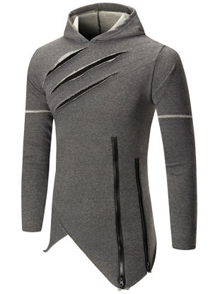 Picture of Men's Hoodie Casual Asymmetric Hem Solid Color Long Sleeve Hooded Pullover - Size: 3XL