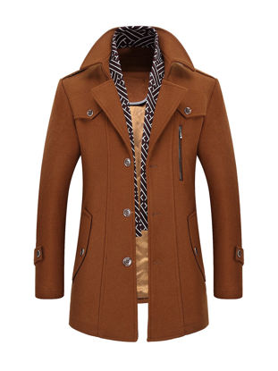 Picture of Men's Wool Blends Coat Solid Color Single Breasted Slim Coat - Size: M