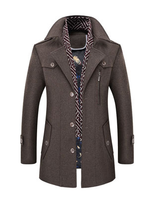 Picture of Men's Wool Blends Coat Solid Color Single Breasted Slim Coat - Size: L