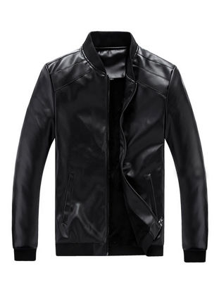 Picture of Men's Synthetic Leather Jacket Fluffy Thicken Warm Leisure Long Sleeve Coat - Size: XL