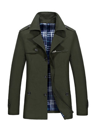 Picture of Men's Trench Coat Solid Color Single Breasted Mid Long Style Coat - Size: M